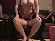 Chubby busty brunette in stockings pleasures her aroused hubby