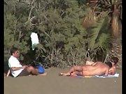 Randy nudist beach couples filmed having sex by discreet voyeur