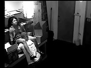 Turned on couple having sex in work time caught by security camera