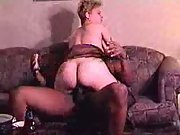 Two busty screaming randy sluts gers nailed by three black studs