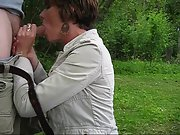 Cute brunette sucks meaty dick in the park and enjoys