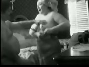 Two playful fatties having fun and petting on black and white footage