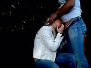 Blonde hottie gets a really fat wiener to suck in the park