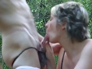 Slutty wife enjoys in hot outdoor sex session in forest