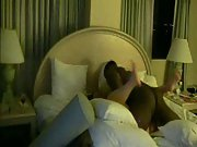 Muscled black hunk in white socks drilles cheating wife in bedroom