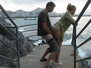 Alice fucked on the rocks and cumshot in the mouth outdoor sex