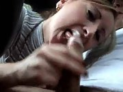 Dirty blonde babe gives a nasty blowjob in the front car seat
