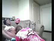 Young black girl gets licked good in the living room
