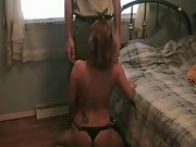 Submissive brunette wife gets rammed by her dominant hubby in bedroom